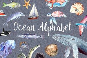 Ocean Alphabet Clipart + Poster