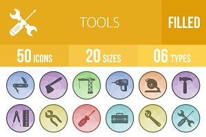 50 Tools Filled Low Poly B/G Icons
