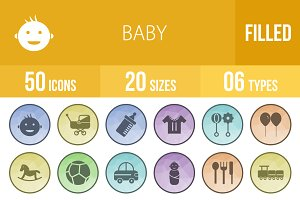 50 Baby Filled Low Poly B/G Icons