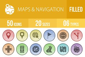 50 Maps & Navigation Low Poly Icons