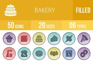 50 Bakery Filled Low Poly B/G Icons
