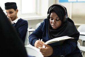 Muslim kids in classroom