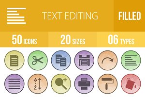 50 Text Editing Low Poly B/G Icons