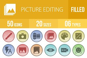 50 Picture Editing Low Poly Icons