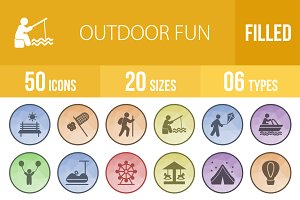 50 Outdoor Fun Low Poly B/G Icons