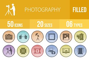 50 Photography Low Poly B/G Icons