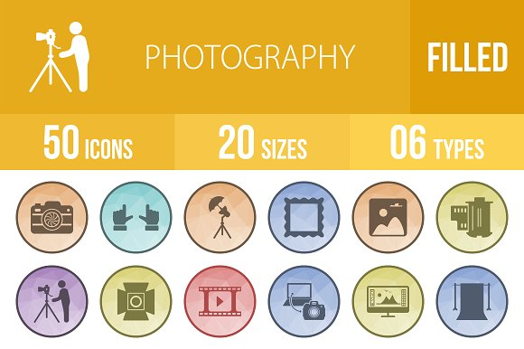 50 Photography Low Poly B G Icons