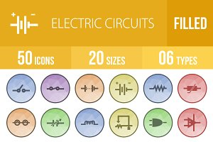 50 Electric Circuits Low Poly Icons