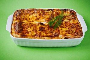 freshly baked lasagna
