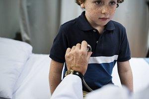 Young boy having a checkup