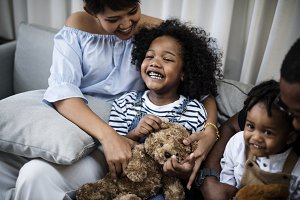 young black kid with family