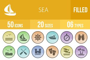 **50 Sea Filled low Poly B/G Icons**