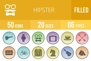 50 Hipster Filled Low Poly B/G Icons