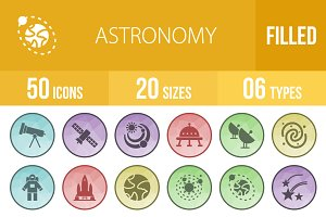 50 Astronomy Low Poly B/G Icons