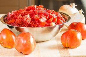 Bowl of chopped tomatoes