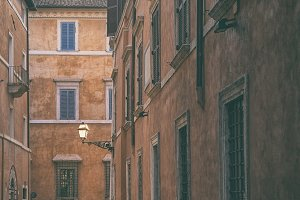 Facades of houses in Rome