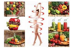 Female body with a cycle arrows. Fat lose, healthy eating and nutrition concept.
