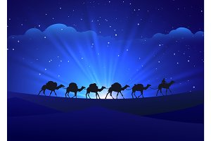 Walking camel caravan night background