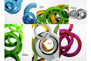 3d circles and rings, vector digital background set