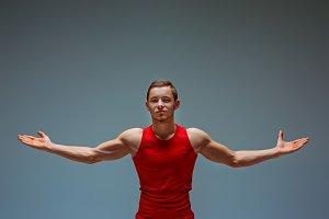 The two gymnastic acrobatic caucasian men
