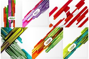 Vector straight line abstract background set