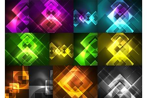 Glowing glass squares on dark space background