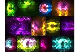 Round glowing elements on dark space, abstract background set
