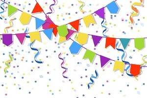Party decoration confetti and flags