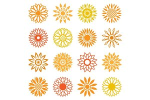Sunflower icons for logo and labels
