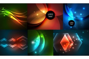 Glowing geometric shapes on dark abstract backgrounds