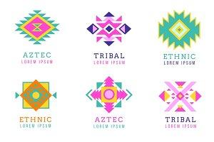 Aztec or apache motif style logo set