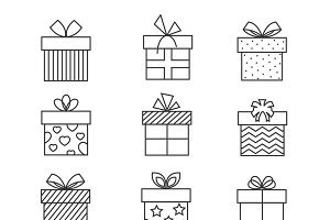 Gift boxes thin line icons