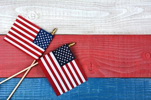 Flags on Patriotic Table
