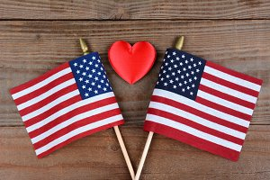 American Flags and Red Heart