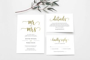 Wedding Invitation Set Gold