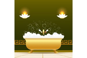 Golden bathtub illustration