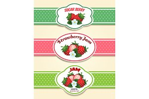 Strawberry fruit label set