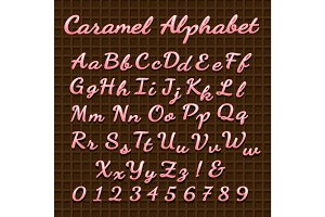 Sweet pink candy lettering font