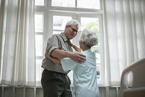 Old couple patient at a hospital