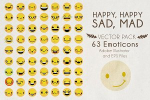 Happy, Happy, Sad, Mad Vector Pack