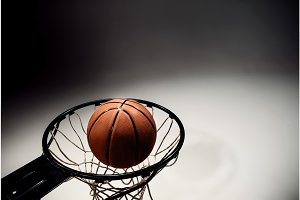 Basketball board and  ball on gray background