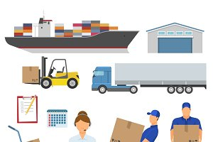 Logistics Decorative Flat Icons Set