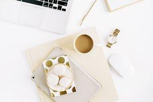 Pastel feminine workspace