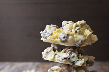 nuts and raisins in white chocolate