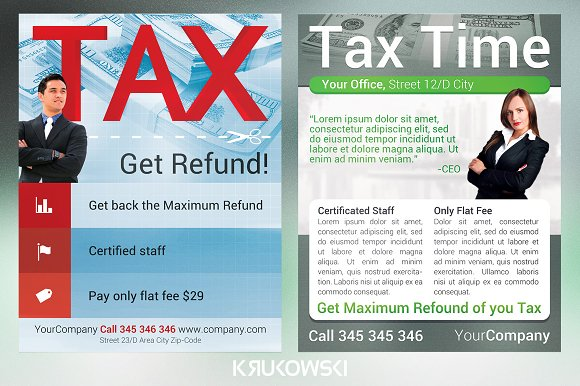 Tax service flyers bundle flyer templates creative market fandeluxe Image collections