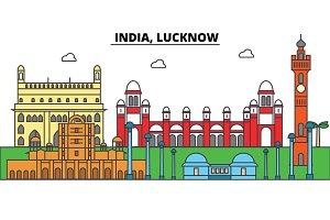 India, Lucknow, Hinduism. City skyline, architecture, buildings, streets, silhouette, landscape, panorama, landmarks. Editable strokes. Flat design line vector illustration concept. Isolated icons set