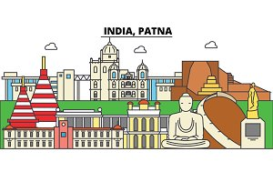 India, Patna, Hinduism. City skyline, architecture, buildings, streets, silhouette, landscape, panorama, landmarks. Editable strokes. Flat design line vector illustration concept. Isolated icons set