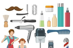 Beauty Salon Decorative Icons Set