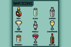 Bar color outline isometric icons