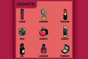 Cosmetic color isometric icons
